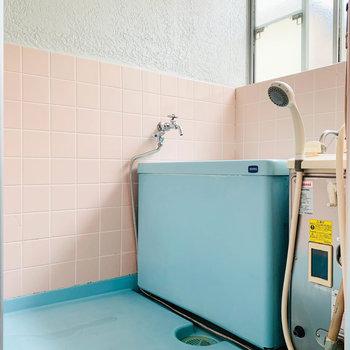 では、お風呂へ。ピンクとライトブルー。小窓で換気できます。