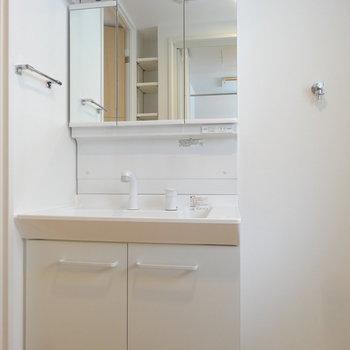 大きめサイズの洗面台。(※写真は2階の同間取り別部屋のものです)