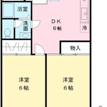 二つの洋室は約6帖に等分されていますね。