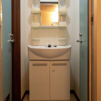 洗面台は収納が多くて使い勝手が良さそう。