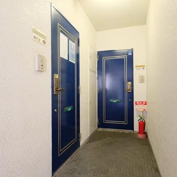 共用部の扉も青で