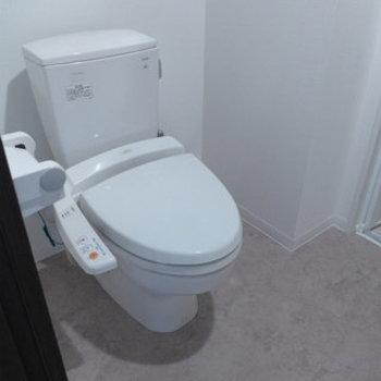 トイレはウォシュレット付き。洗面台と同室です