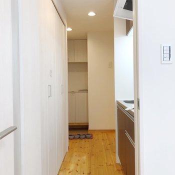 キッチンの後ろにクローゼットがあります