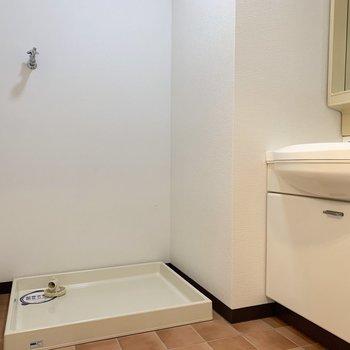 隣に洗濯機置場。