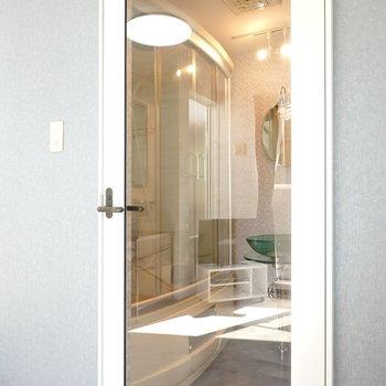 ガラス張りのドアの先は脱衣所です。