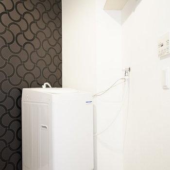 洗濯機置場も同じスペースにあります。 もちろん備え付きですよ!