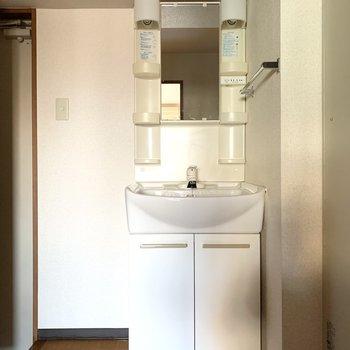 洗面台はキッチンと玄関の間に。(※写真は4階の同間取り別部屋のものです)