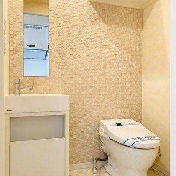 スタイリッシュな洗面台とトイレの小棚(※写真は12階の反転間取り別部屋のものです)