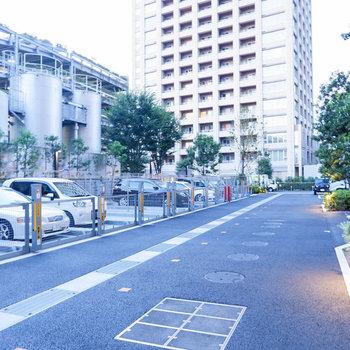 駐車場は建物裏口に。