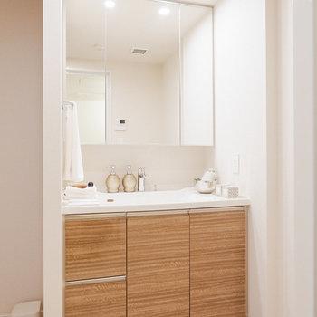 収納付き、大きな鏡の洗面台です。※家具・雑貨はサンプルです