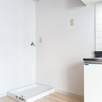 冷蔵庫と洗濯機はシンクの隣側に。