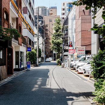 マンションの前は静かな路地となっています。