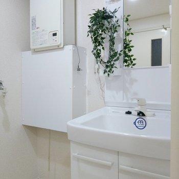 洗面台はシャワー水栓で使いやすそう◎(※写真の小物は見本です)