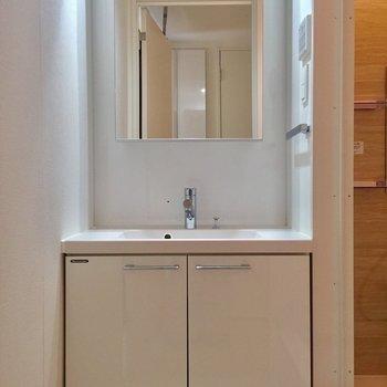 左側の扉から。独立洗面台で朝の用意もゆったりと。
