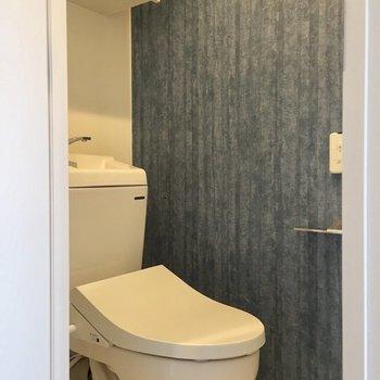 右側の扉からトイレに。収納があるのが嬉しいですね。※写真は3階の反転間取り別部屋のものです