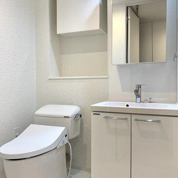 洗面台とトイレは隣り合っています