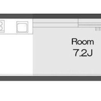 細長い1Rのお部屋。
