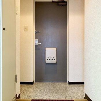 シャンとする玄関。左右に収納あるんです!