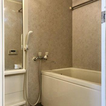 縦長の鏡付きの浴室です。