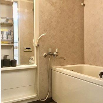 大きな鏡付きの浴室です。