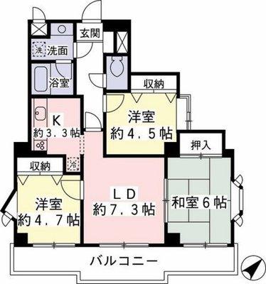 ライオンズマンション聖蹟桜ヶ丘第5 の間取り