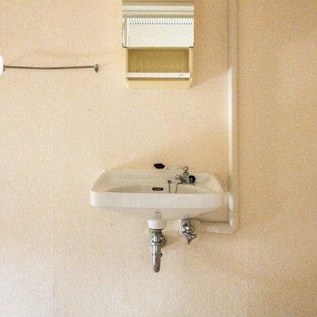 洗面台の鏡はコンパクト。