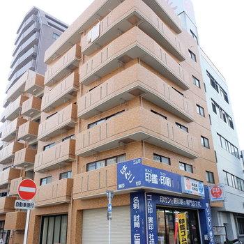大通り沿いにある大きなマンション(※写真と文章は前回募集時のものです。)