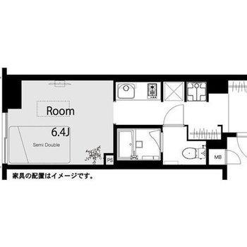 玄関が広い1Rのお部屋。