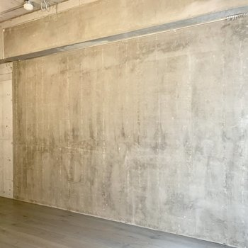 ピクチャーレールと奥の壁にはフックもあります。
