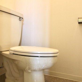 床のクロスがかわいいおトイレ。