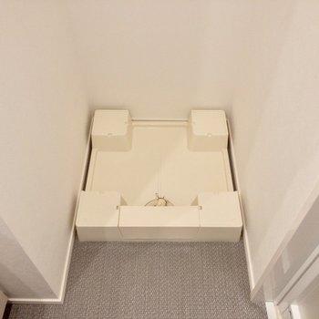 脱衣スペースの中に洗濯機置き場があります。
