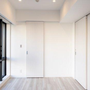 【洋室6.9帖】収納は正面の扉です。