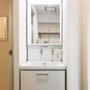 洗面台にも収納たっぷり※写真は似た間取り別部屋です