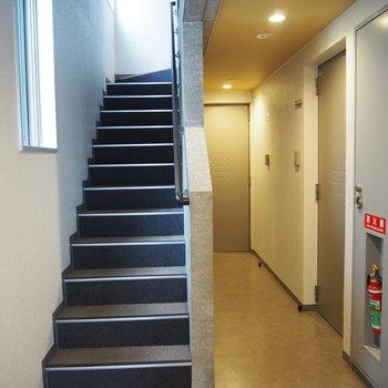 この階段をのぼってお部屋へ