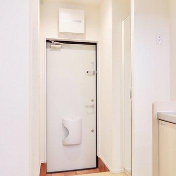 玄関は1人暮らしのサイズ感。