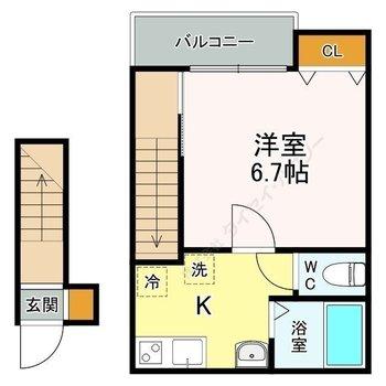 玄関が1階に、2階はスッキリと暮らせます。