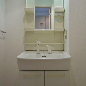 独立洗面台はありがたいですよね。※写真は406号室のもの