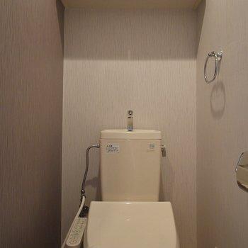 トイレ上にも収納あります。※写真は406号室のもの