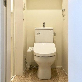お手洗いとウォシュレット付きのトイレ。左はお風呂につながっているので脱衣所も兼ねています。