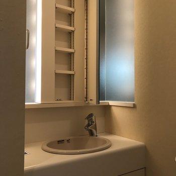 鏡の裏は収納スペースになってます!