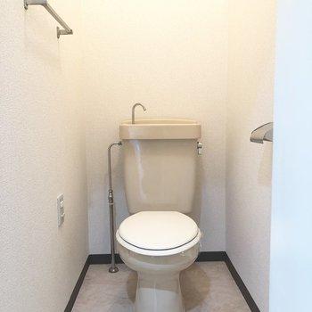 トイレは流すと上から水が出てくるタイプです。