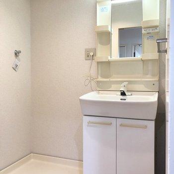 脱衣所には洗面台と洗濯機置き場があります。