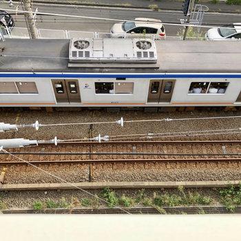 下を覗くと電車が見えました。眺めているだけでも楽しいです