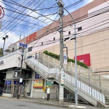 駅の後ろには大きな商業施設がありますよ