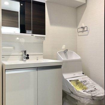 サニタリールームへ。独立洗面台とトイレが並んでいます。トイレにも上部収納付きです