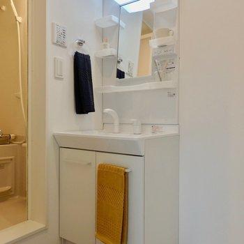 脱衣所に洗面台。※写真は2階の反転間取り別部屋のものです