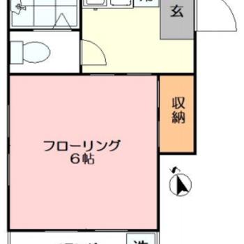 洋室は一人暮らしには十分な6帖