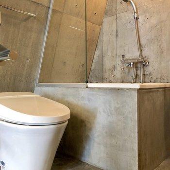 お風呂とトイレが並んでいます。お風呂にはシャワーカーテンを付けられます