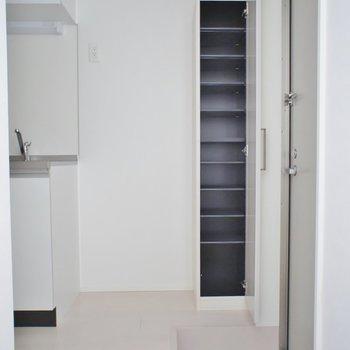 少し狭めの玄関ですがシューズBOXは付いてます。※写真は202号室のもの