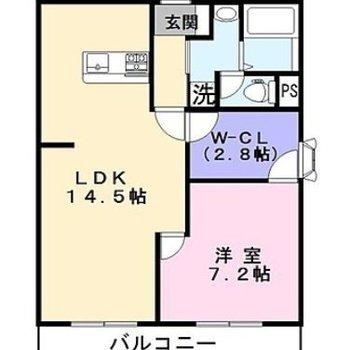 ウォークインクローゼットがある1LDKのお部屋です